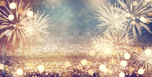 Fotografie, Obraz Vintage gold and green Fireworks and bokeh in New Year eve and copy space