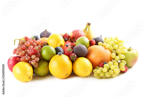 Keuken foto achterwand Vruchten Ripe and tasty fruits isolated on a white