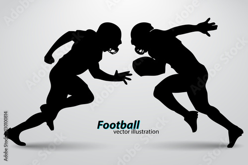 Photo silhouette of a football player. Rugby. American footballer