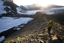 Woman Hiking Near Mount Olympus And Blue Glacier, Olympic National Park, Washington State