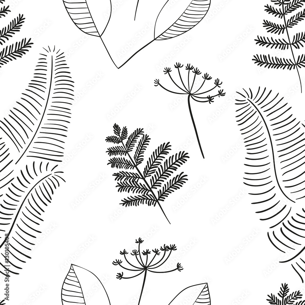 Scandinavian vector floral seamless pattern. Simple hand drawn elements in nordic style. Reapiting tileable composition for your design.