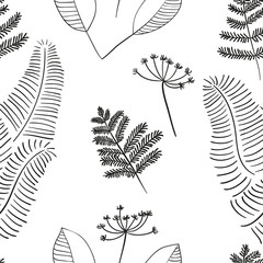 Fototapeta Style Scandinavian vector floral seamless pattern. Simple hand drawn elements in nordic style. Reapiting tileable composition for your design.