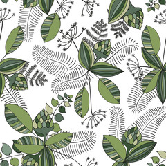 Panel SzklanyScandinavian vector floral seamless pattern. Simple hand drawn elements in nordic style. Reapiting tileable composition for your design.
