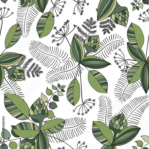 Scandinavian vector floral seamless pattern Wallpaper Mural