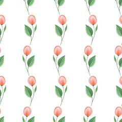 Panel SzklanyRomantic flowers. Hand drawn floral pattern. Seamless background 3