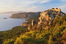 Monolithos Castle And Aegean Sea, Rhodes, Dodecanese, Greek Islands, Greece