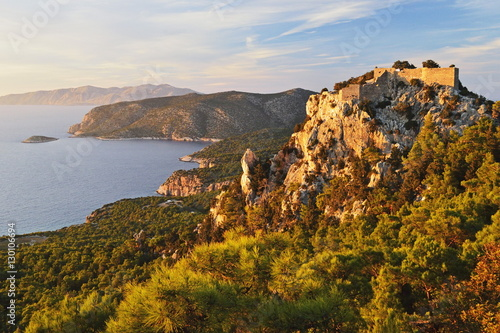 Monolithos Castle and Aegean Sea, Rhodes, Dodecanese, Greek Islands, Greece, Europe