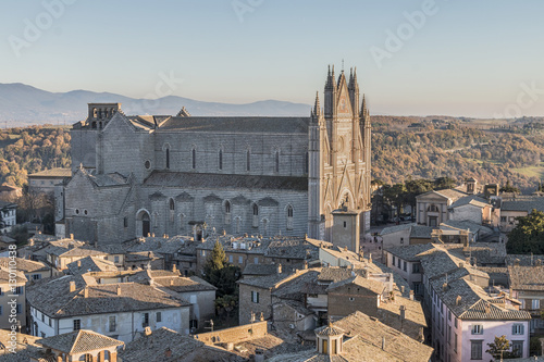 Orvieto Cathedral is surrounded by the old town, seen from the Moro tower