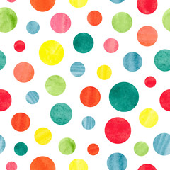 FototapetaSeamless colorful dots pattern. Vector background with watercolor circles.