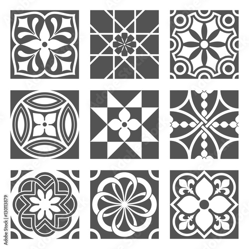 Vintage Ornamental Patterns in Black and White Canvas Print
