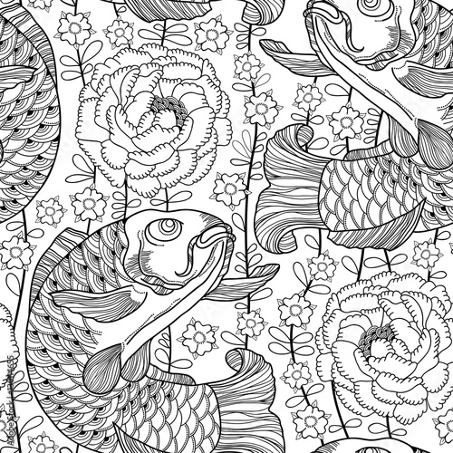 Foto op Aluminium Draw Vector seamless pattern with outline black koi carp and chrysanthemum or dahlia on the white background. Japanese ornate fish and flower in contour style for coloring book. Background in linear art.