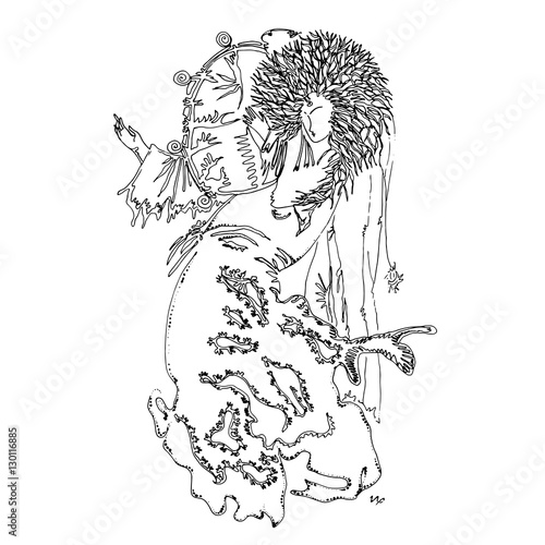 Foto op Plexiglas Dancing woman with tambourine. World of Woman graphical art series. Vector Illustration