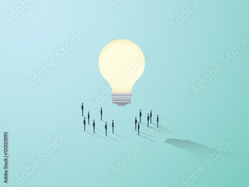 Obraz Business creativity vector concept with big light bulb and people standing around. Teamwork brainstorming symbol. - fototapety do salonu