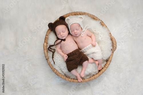 Photo  Fraternal Twin Baby Brother and Sister in Bear Hats