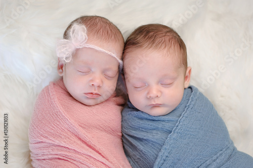 Photo  Fraternal Twin Baby Brother and Sister