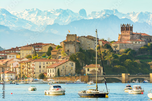 panoramic views to san vicente de la barquera traditional village at cantabria, spain