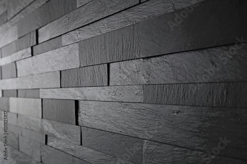 Obraz na plátně détail revêtement mur noir en relief