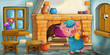 Cartoon scene of a mother or grandmother with a child in the kitchen - illustration for children