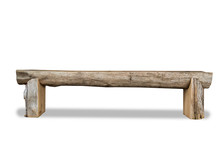 Bench On White Background, Wooden Log Home Style Bench
