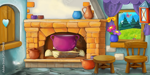 Cartoon background for fairy tale - interior of old fashioned house - kitchen - illustration for children