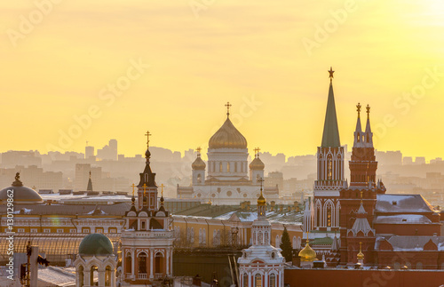 Poster Moscow Moscow, view of Moscow Kremlin, Cathedral of Christ the Savior a