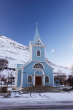 Traditional Wooden Church, Built In 1922, At Seydisfjordur, A Town Founded In 1895 By A Norwegian Fishing Company, Now Main Ferry Port To And From Europe In The East Fjords, Iceland