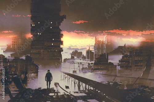 Foto op Aluminium Grandfailure man standing in abandoned city,sci-fi concept,illustration painting