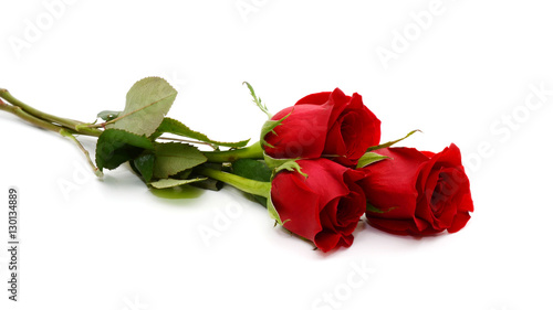 Foto op Canvas Roses red rose bouquet isolated on white background
