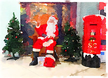 Digital Watercolor Painting Of Santa Waving Sitting In His Grotto Surrounded By Christmas Trees. Space For Text.