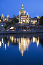 Inner Harbour With Parliament Building At Night, Victoria, Vancouver Island, British Columbia, Canada