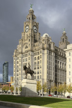 Statue Of Edward V11 And The Liver Royal Building, Waterfront, Liverpool, Merseyside