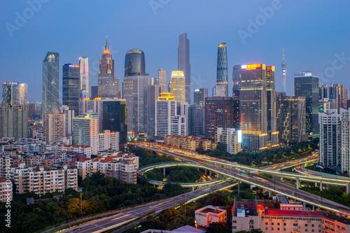 Keuken foto achterwand Peking Guangzhou city skyline at night