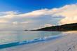 Sunrise in the bay Grande Anse. La Digue Island, Seyshelles