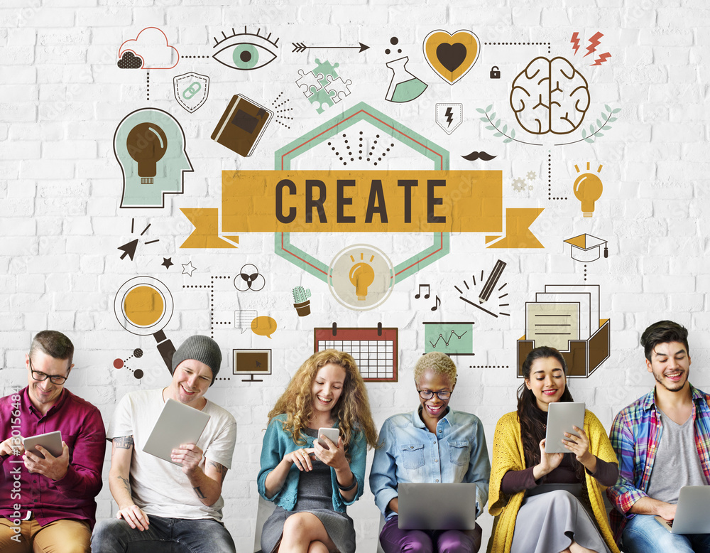 Fototapety, obrazy: Create Ideas Aspiration Solution Inspiration Concept