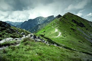 Panel Szklany Góry Green mountains and dark cloudy sky.