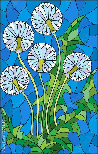 ilustracja-w-witrazu-stylu-kwiacie-blowball-na-blekitnym-tle
