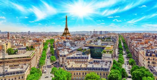 Naklejki na meble Piękny widok panoramiczny na Paryż z dachu Triumfalnego