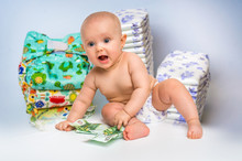 Cute Baby With Money Isolated ...