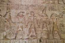 Bas-relief Of Pharaoh Seti I In Center With Egyptian Gods, Temple Of Seti I, Abydos, Egypt