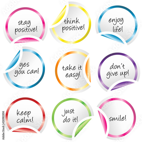 Photo  Round stickers with curled corners with positive messages