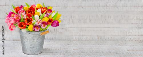 Doppelrollo mit Motiv - Blumenstrauß - Tulpen in einem Zinkeimer