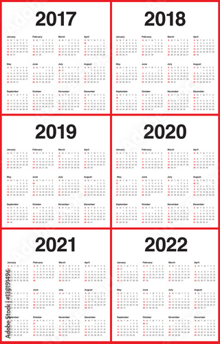 Simple Calendar Template For 2017 To 2022 Buy This Stock Vector