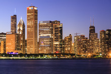 Chicago Cityscape At Dusk Viewed From Lake Michigan, Chicago, Illinois