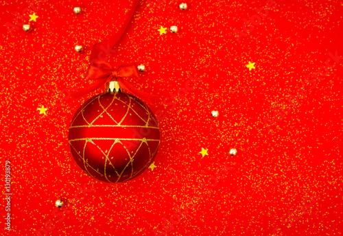 Fototapeta Red christmas background with decoration . obraz na płótnie