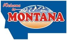 USA State Montana Sign. Mountain. River. Gold.