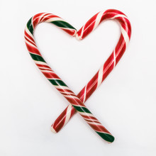 Candy Cane Heart Isolated On White Background