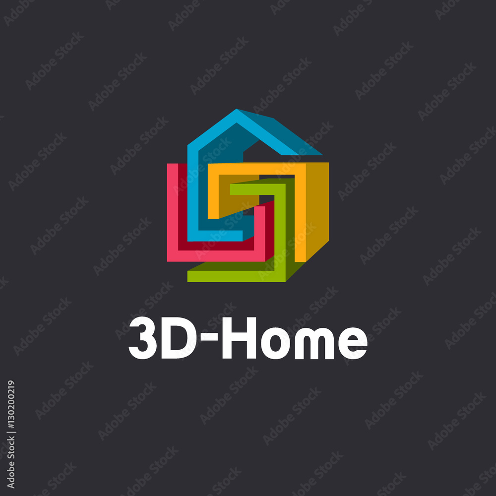 3d Home Logo Template 3d Abstract Geometric Home Symbol