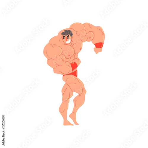 Man In Red Briefs And Wristlets Bodybuilder Funny Smiling Character On Steroids Wallpaper Mural