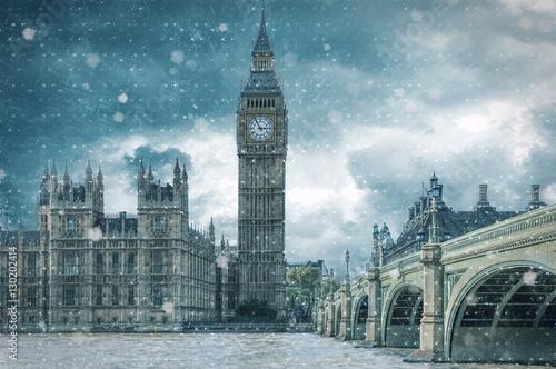 Foto op Canvas Londen Big Ben und Westminster in London bei Schneesturm im Winter