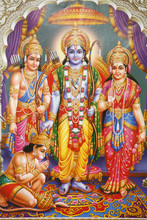 Picture Of Hindu Gods Laksman, Rama, Sita And Hanuman